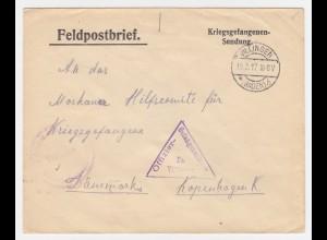DR 1917, Villingen Baden, KGF POW Zensur Brief n. Dänemark. #1941