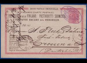Finnland 1886, violette Firmenentwertung v. Tammerfors auf Ganzsache. #S510