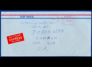 Kuwait, express airmail-cover with metermark #S479