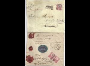 Ungarn 1874, geöffneter u. wiederversiegelter Einschreiben Retour Brief. #S624