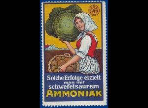 Landwirtschaft, Düngemittel, alte Werbevignette Ammoniak. #S746