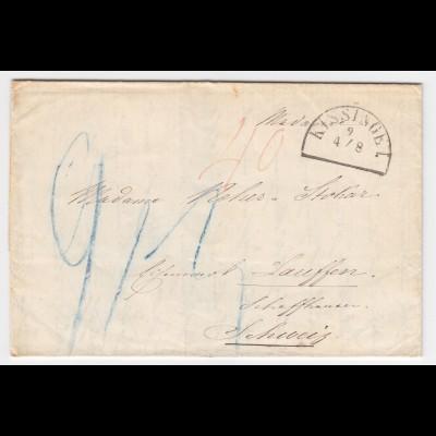 Bayern 1857, HKS KISSINGEN auf Porto Brief in die Schweiz. #2033