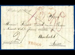 """Österreich Schweiz 1840, """"FRANCO"""" Muster ohne Wert Brief v. Troppau. #S837"""