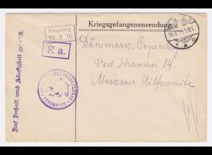 DR 1916, GÜTERSLOH, Offiziers KGF POW Zensur Brief n. Dänemark. #1986