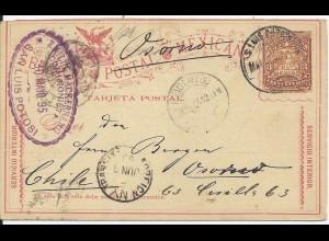 Mexico 1895, Ganzsache v. S. Luis Potosi via New York nach Chile. #2251