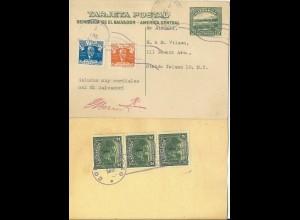 El Salvador 1946, 2 C. Ganzsache m. Zusatzfr. n. USA. #2846