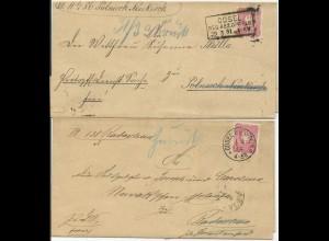 DR 1881/84, 2 Retour Brief m. je 10 Pf. u. R3/K1 Cosel RB Oppeln. Polen #116