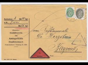 DR 1930, 5+30 Pf. Dienst auf Nachnahme Brief v. Stadtsteinach n. Bayreuth. #2357