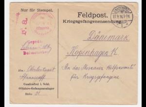 DR 1917, Gnadenfrei Polen, KGF POW Dolmetscher Zensur Brief n. Dänemark. #837