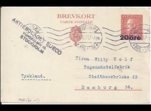 Schweden 1923, 20 öre Überdruck Ganzsache gebr. n. Deutschland. P47 (60.-)