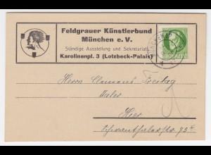 """Bayern 1919, Postkarte """"Feldgrauer Künstlerbund München"""" an C. Freitag. #1489"""