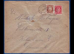 Norwegen 1919, Nevlunghavn (Vf), 2+10 öre auf Brief n. Dänemark. #S811