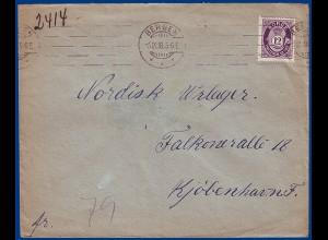 Norwegen 1918, Bergen, EF 12 öre auf Brief n. Dänemark. #S817