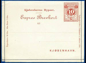 Dänemark Bypost Kopenhagen, 3 öre Expres Ganzsache Kartenbrief. #S561