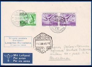 Liechtenstein 1940, Zuleitung zum Swissair Erstflug Brief Locarno Barcelona#S725