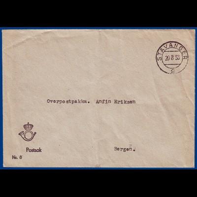 Norwegen, portofreie Postsache Brief v. Stavanger 1953. #S799