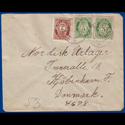 Norwegen 1919, 12 öre Porto, Brief v. VANSE nach Dänemark. #S800