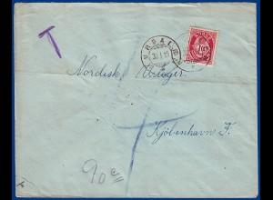 "Norwegen 1919, Hurdalen (Akh), ""T"" Porto Brief nach Dänemark. #S804"