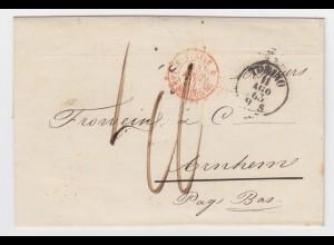 Italien NL 1863, K1 Torino auf Porto Brief Brief via Lanslebourg France. #1607