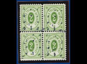 Dänemark Bypost, Horsens 2 öre grün, gebr. 4er-Block. #S625