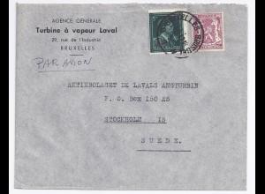 Belgien 1947, 5 F. -10% (Überdr.rot) van Aker auf Luftpost Brief n Schweden.#935
