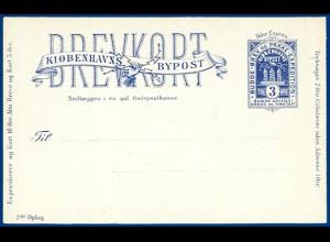Dänemark Bypost Kopenhagen, ungebr. 3 öre Ganzsache Karte Ikke Express. #S553