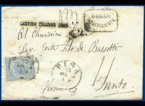 Italien 1864, unzureichend frankierter Brief v. Pisa nach Österreich. #S618