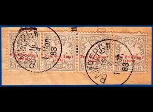 Bayern Porto 5, Viererstreifen 5 Pfg. auf Briefstück m. K1 Bamberg 1883. #S511