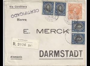 Chile DR 1914, Santiago Einschreiben Ganzsache Brief m. Zusatzfrankatur! #2082