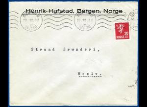 Norwegen, Nattog I, Bergensbanen Nachtzug Bahnpost Brief m. 20 öre. #S563