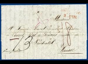 "Österreich Schweiz 1839, kpl. Brief v. Troppau ""franco frontieres"". #S838"