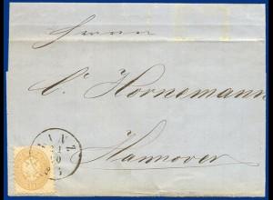 Österreich 1866, 15 Kr. auf Brief v. LINZ ins Königreich Hannover. #S455