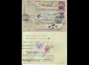 DR 1915, Paketkte. v. Neusalz Oder m. rücks. 2 Rumänien Steuermarken. #S489