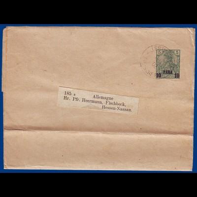 DP Türkei, 1902, Jerusalem DP auf 10 Pa./5 Pf. Ganzsache Streifband. #S755