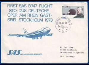 Schweden, SAS-Erstflug Stockholm-Düsseldorf 73-10-29 m. Polar Briefmarke. #S791