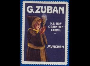 G. Zuban München, K.B.Hof Zigaretten Fabrik, alte Vignette. Thematik Tabak #S748