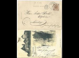 Judaika / Österreich 1899, K1 Judenau auf AK Gruss aus Neuhaus. #2841