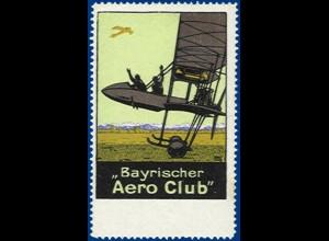 Aviatik, Vignette Bayrischer Aero Club m. Flugzeug. #S342