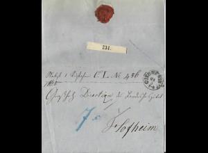 Taxis 1858, K1 Giessen auf Paket Brief, innen Botenlohn Quittung f. 7 Kr. #2728