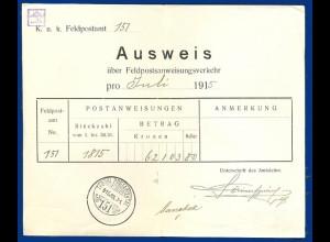 Österreich FP Ausweis über Feldpostanweisungsverkehr 1915 m Ungarn Stempel #S445