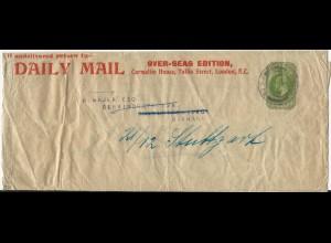 "GB 1912, 1/2 P. Streifband Privat Ganzsache ""Daily Mail"", gebr. London-DR. #2673"