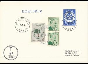 Schweden, 45 öre Ganzsache Karten Brief v. Trelleborg m. Türkei Nachporto. #1304