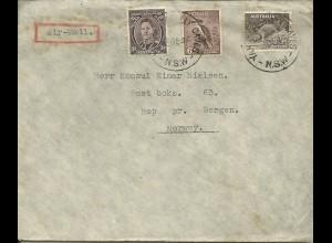 Australien 1945, 3+6+9d auf Luftpost Konsulats Brief n. Norwegen. #3020