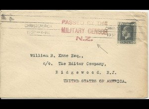 Neuseeland, Zensur Brief m. 1 1/2d v. Christchurch n. USA. #3022