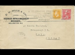 Neuseeland 1928, 1+2d auf Brief v. Wellington n. Norwegen. Destination ! #3019