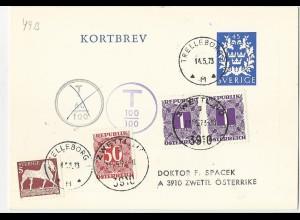 Schweden, Ganzsache Karten Brief v. Trelleborg m. Österreich Nachporto. #2407