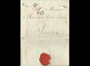 """Österreich 1784, L1 """"von Wien"""" auf Porto Brief n. Anvers Belgien. #3007"""