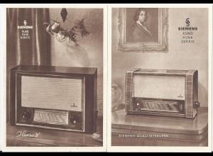 Rundfunk, 2 alte Siemens Radio Werbung Reklame Karten. #2525
