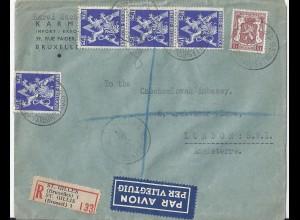 Belgien 1946, Einschreiben Luftpost Brief v. St. Gilles an CSSR Embassy GB #1721