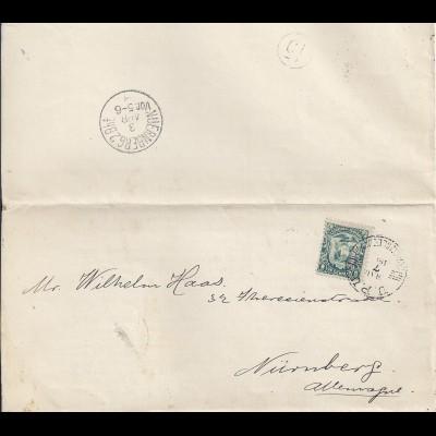 Ecuador 1895, EF1 C. auf kpl. Drucksache m. UPU Stpl. n. Bayern. #1323
